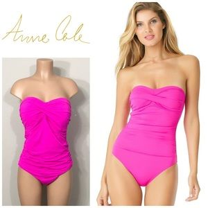 Anne Cole Pink bandeau swimsuit. NWOT